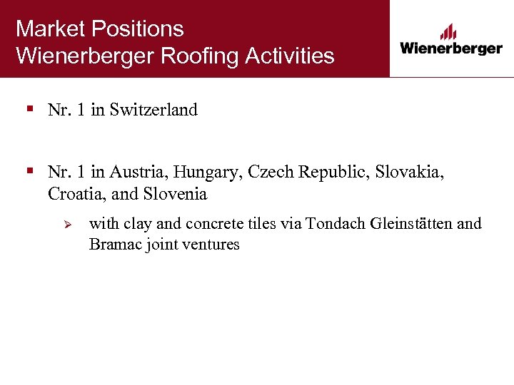 Market Positions Wienerberger Roofing Activities § Nr. 1 in Switzerland § Nr. 1 in
