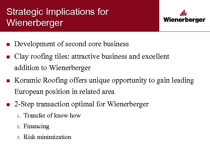Strategic Implications for Wienerberger n Development of second core business n Clay roofing tiles: