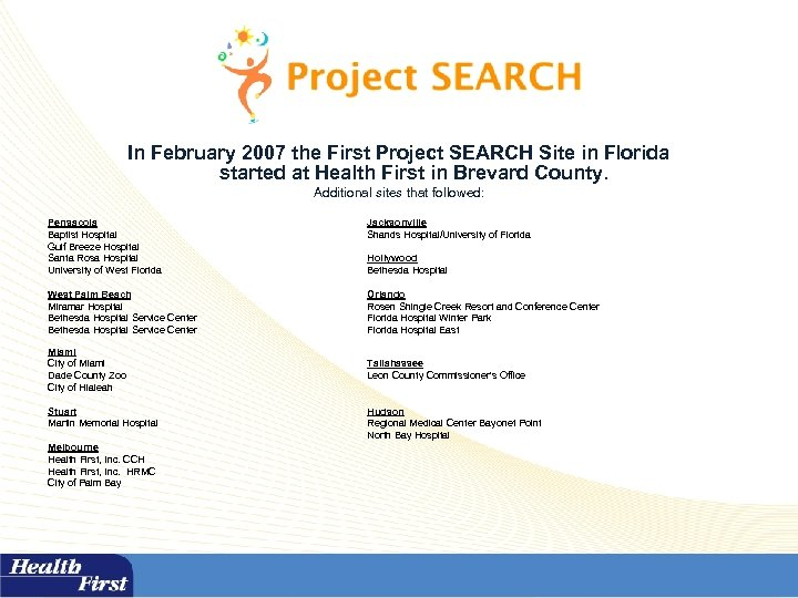 In February 2007 the First Project SEARCH Site in Florida started at Health First