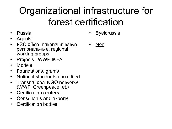 Organizational infrastructure forest certification • Russia • Agents • FSC office, national initiative, региональные,