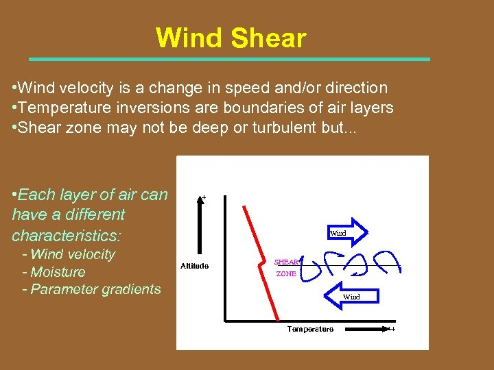 Wind Shear • Wind velocity is a change in speed and/or direction • Temperature