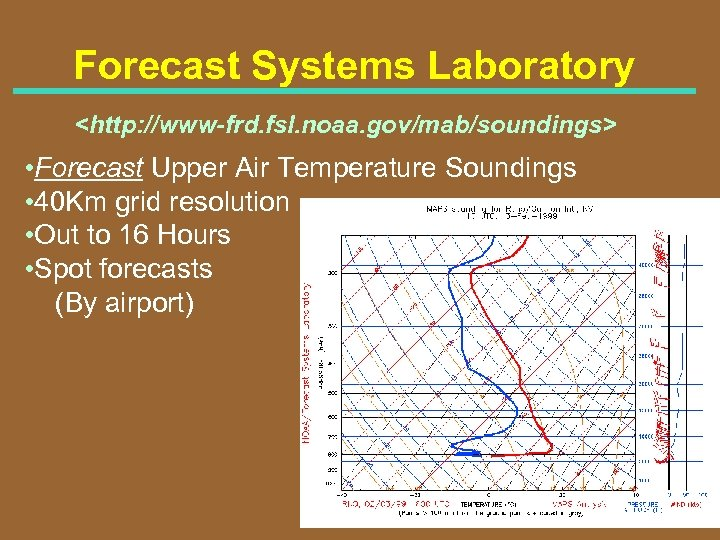Forecast Systems Laboratory <http: //www-frd. fsl. noaa. gov/mab/soundings> • Forecast Upper Air Temperature Soundings