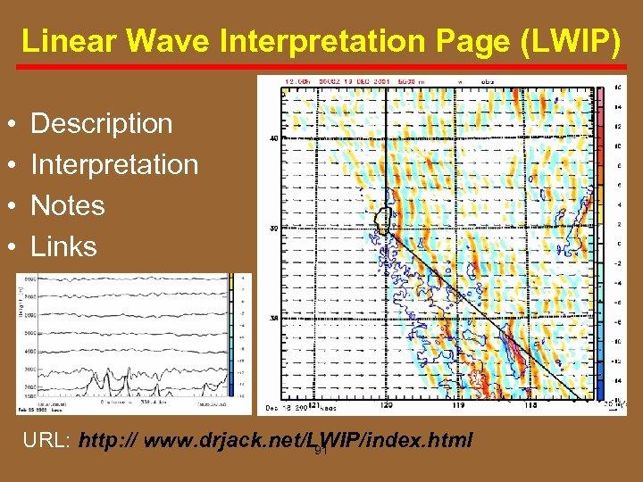 Linear Wave Interpretation Page (LWIP) • • Description Interpretation Notes Links URL: http: //