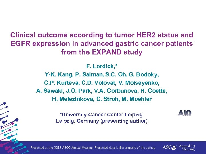 Clinical outcome according to tumor HER 2 status and EGFR expression in advanced gastric