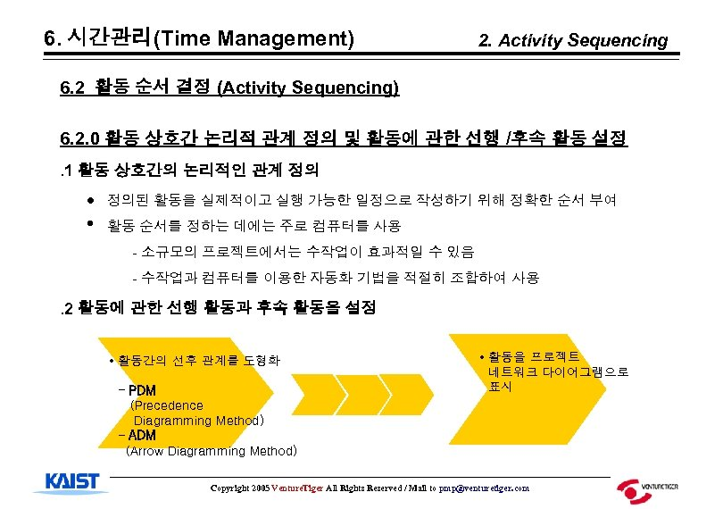 6. 시간관리(Time Management) 2. Activity Sequencing 6. 2 활동 순서 결정 (Activity Sequencing) 6.