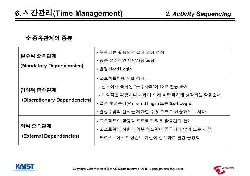 6. 시간관리(Time Management) 2. Activity Sequencing v 종속관계의 종류 • 수행되는 활동의 성질에 의해