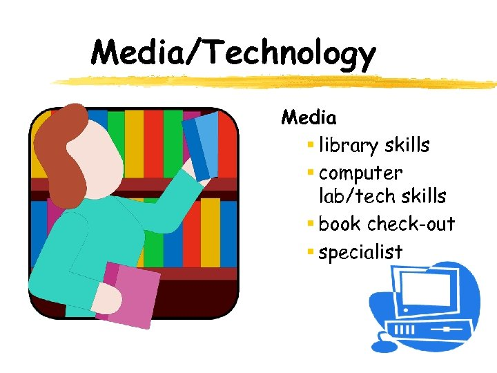 Media/Technology Media § library skills § computer lab/tech skills § book check-out § specialist
