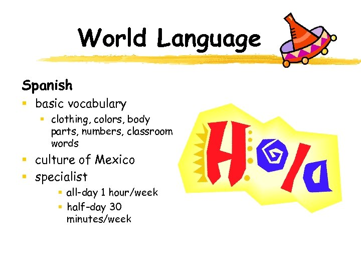 World Language Spanish § basic vocabulary § clothing, colors, body parts, numbers, classroom words