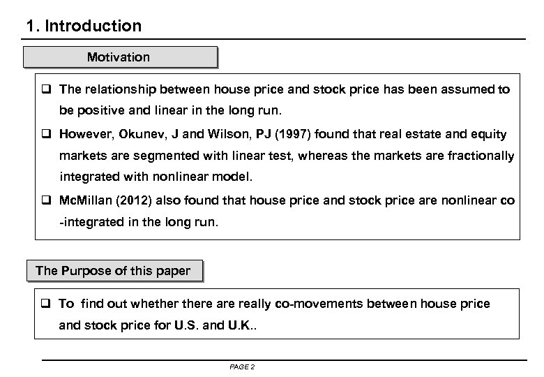 1. Introduction Motivation q The relationship between house price and stock price has been