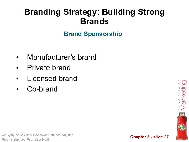 Branding Strategy: Building Strong Brands Brand Sponsorship • • Manufacturer's brand Private brand Licensed