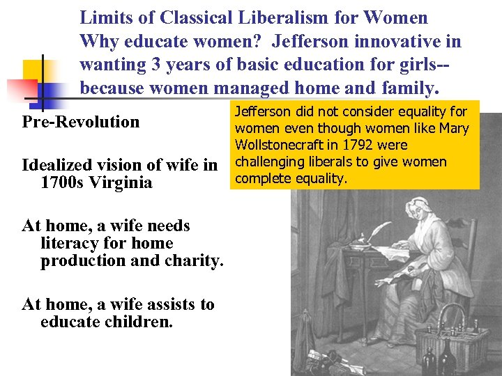 Limits of Classical Liberalism for Women Why educate women? Jefferson innovative in wanting 3