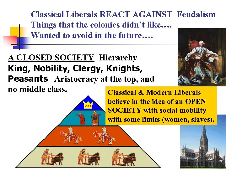 Classical Liberals REACT AGAINST Feudalism Things that the colonies didn't like…. Wanted to avoid