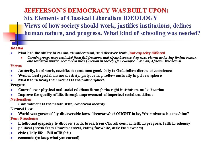 JEFFERSON'S DEMOCRACY WAS BUILT UPON: Six Elements of Classical Liberalism IDEOLOGY Views of how