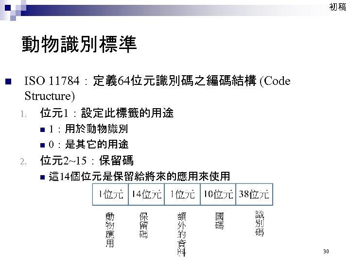 初稿 動物識別標準 n ISO 11784:定義 64位元識別碼之編碼結構 (Code Structure) 1. 位元1:設定此標籤的用途 n n 2. 1:用於動物識別
