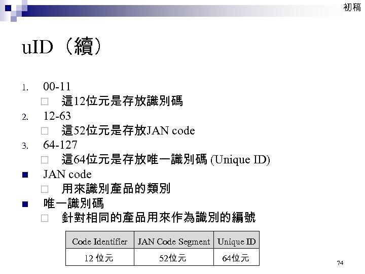 初稿 u. ID(續) 1. 2. 3. n n 00 -11 ¨ 這 12位元是存放識別碼 12