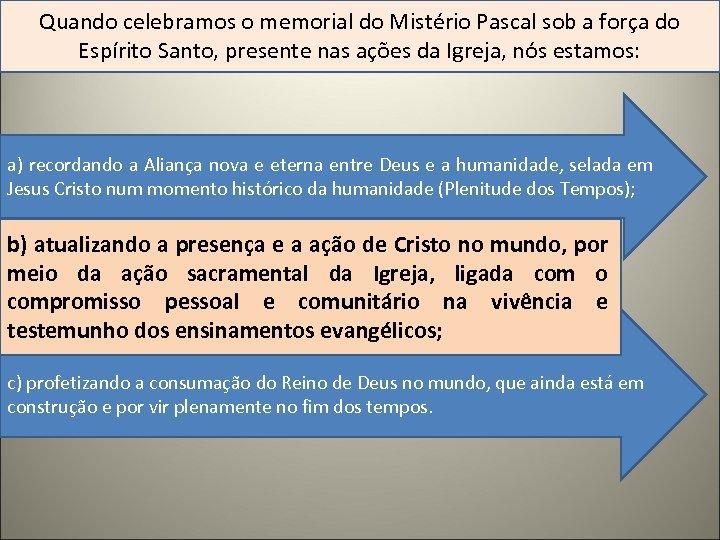 Quando celebramos o memorial do Mistério Pascal sob a força do Espírito Santo, presente