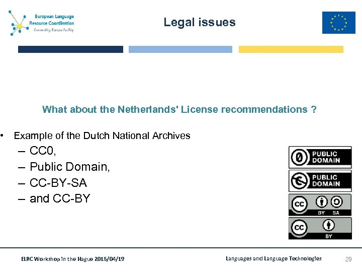 Legal issues What about the Netherlands' License recommendations ? • Example of the Dutch