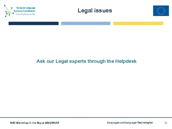Legal issues Ask our Legal experts through the Helpdesk ELRC Workshop in the Hague