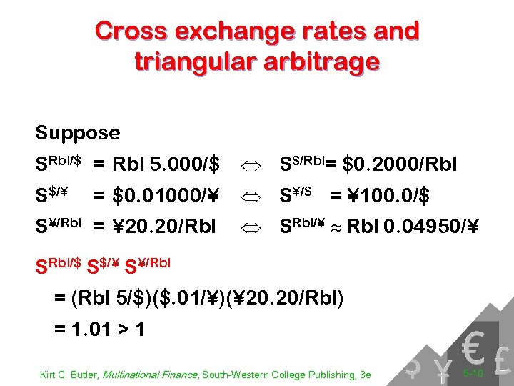 Cross exchange rates and triangular arbitrage Suppose SRbl/$ = Rbl 5. 000/$ Û S$/Rbl=