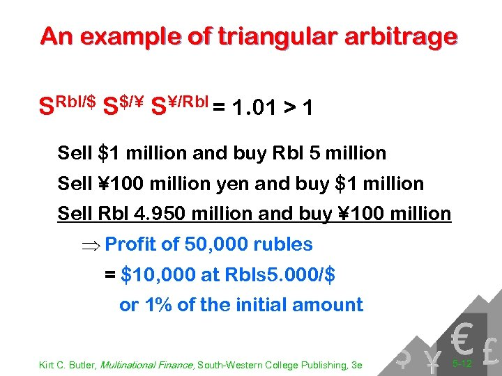 An example of triangular arbitrage SRbl/$ S$/¥ S¥/Rbl = 1. 01 > 1 Sell