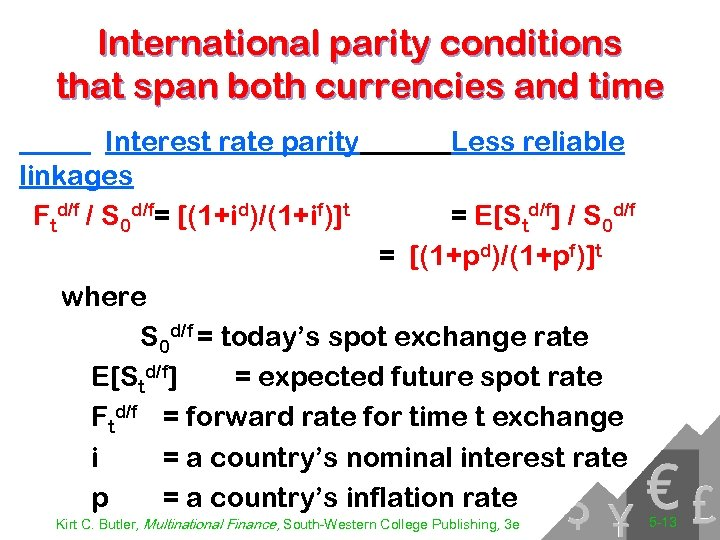 International parity conditions that span both currencies and time Interest rate parity linkages Ftd/f
