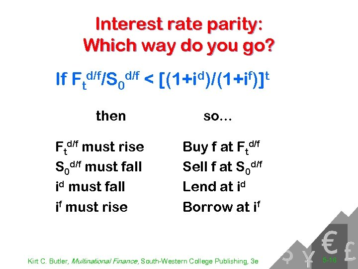 Interest rate parity: Which way do you go? If Ftd/f/S 0 d/f < [(1+id)/(1+if)]t