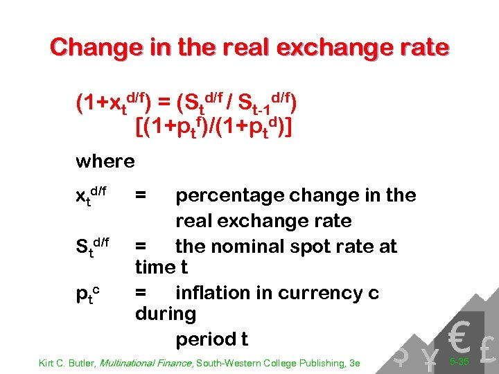 Change in the real exchange rate (1+xtd/f) = (Std/f / St-1 d/f) [(1+ptf)/(1+ptd)] where