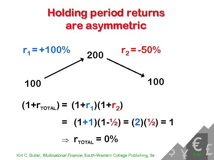 Holding period returns are asymmetric r 1 = +100% 200 r 2 = -50%