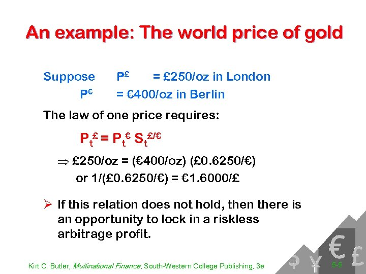 An example: The world price of gold Suppose P€ P£ = £ 250/oz in