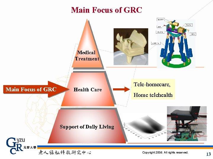 Main Focus of GRC Medical Treatment Main Focus of GRC Health Care Tele-homecare, Home