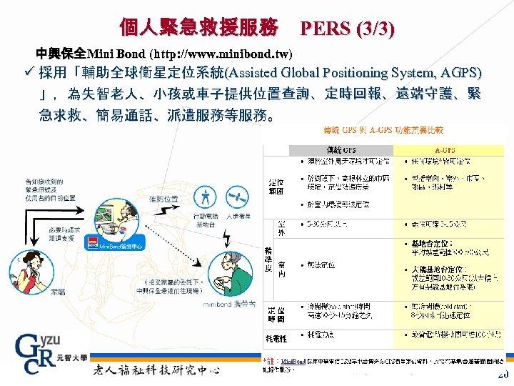 個人緊急救援服務 PERS (3/3) 中興保全Mini Bond (http: //www. minibond. tw) ü 採用「輔助全球衛星定位系統(Assisted Global Positioning System,