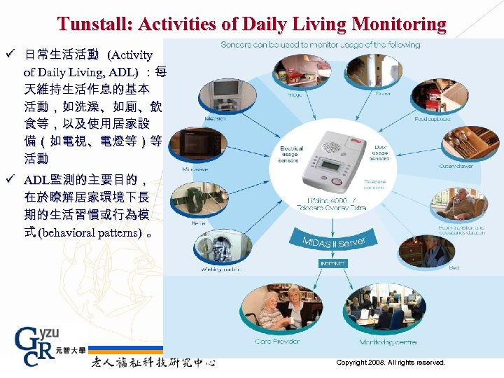 Tunstall: Activities of Daily Living Monitoring ü 日常生活活動 (Activity of Daily Living, ADL) :每
