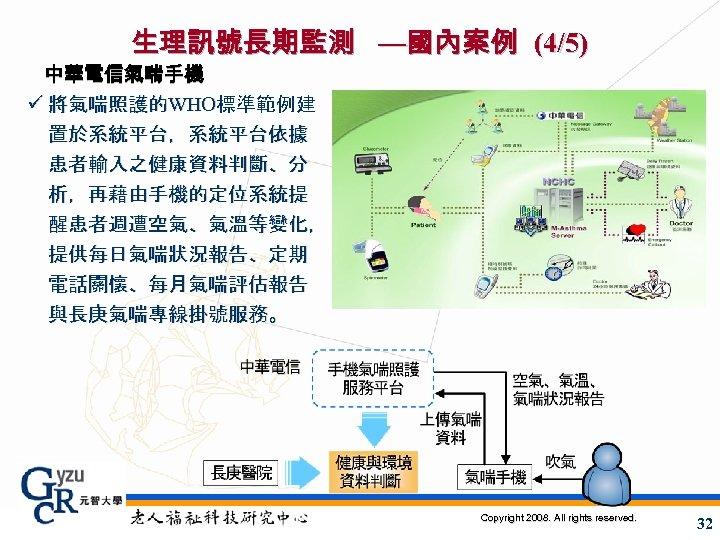 生理訊號長期監測 —國內案例 (4/5) 中華電信氣喘手機 ü 將氣喘照護的WHO標準範例建 置於系統平台,系統平台依據 患者輸入之健康資料判斷、分 析,再藉由手機的定位系統提 醒患者週遭空氣、氣溫等變化, 提供每日氣喘狀況報告、定期 電話關懷、每月氣喘評估報告 與長庚氣喘專線掛號服務。 Copyright