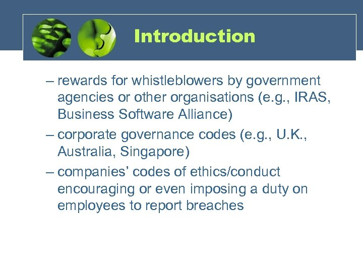 Introduction – rewards for whistleblowers by government agencies or other organisations (e. g. ,