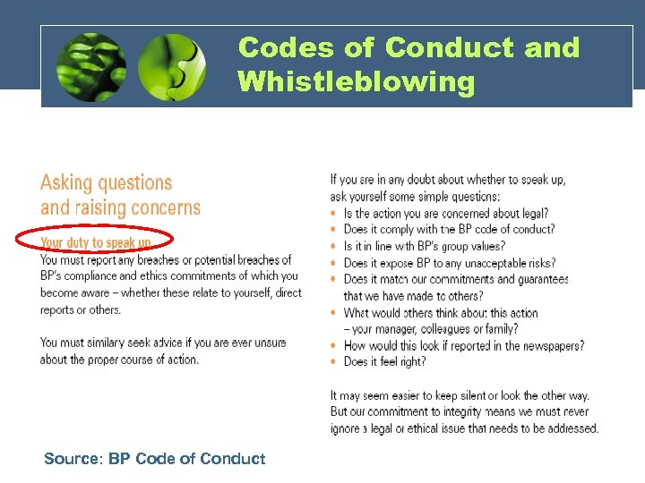Codes of Conduct and Whistleblowing Source: BP Code of Conduct