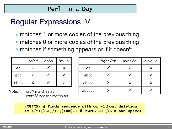 Perl in a Day Regular Expressions IV matches 1 or more copies of the