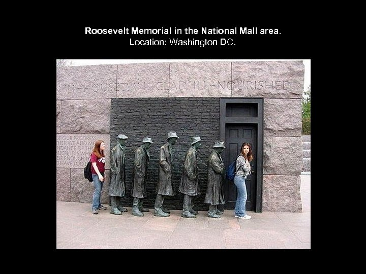 Roosevelt Memorial in the National Mall area. Location: Washington DC.