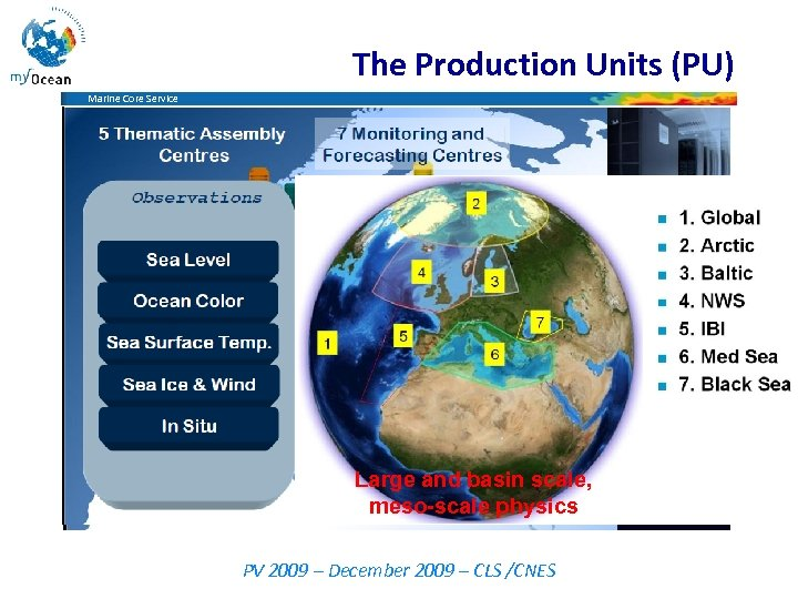 The Production Units (PU) Marine Core Service Large and basin scale, meso-scale physics PV