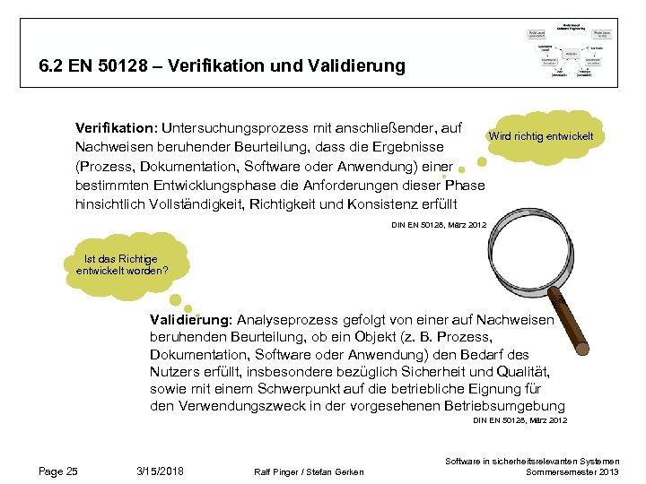 6. 2 EN 50128 – Verifikation und Validierung Verifikation: Untersuchungsprozess mit anschließender, auf Wird