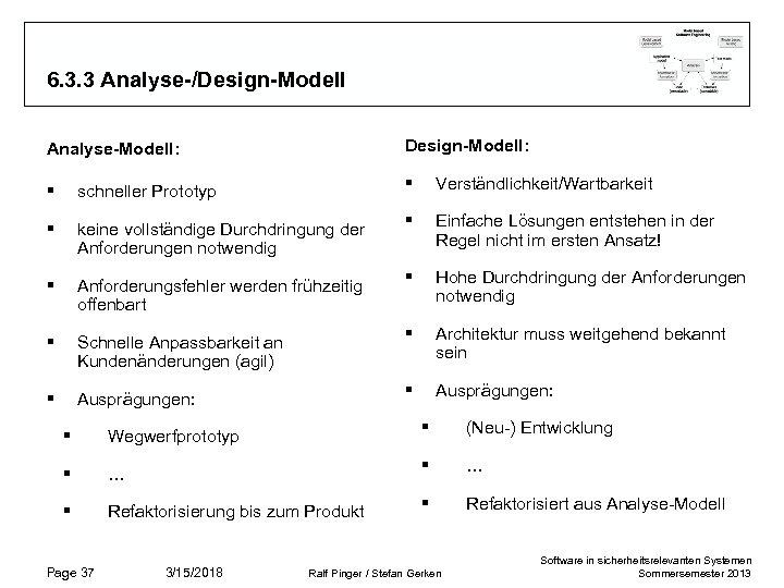 6. 3. 3 Analyse-/Design-Modell Analyse-Modell: Design-Modell: § schneller Prototyp § Verständlichkeit/Wartbarkeit § keine vollständige