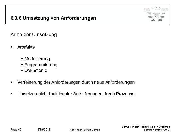 6. 3. 6 Umsetzung von Anforderungen Arten der Umsetzung § Artefakte § Modellierung §