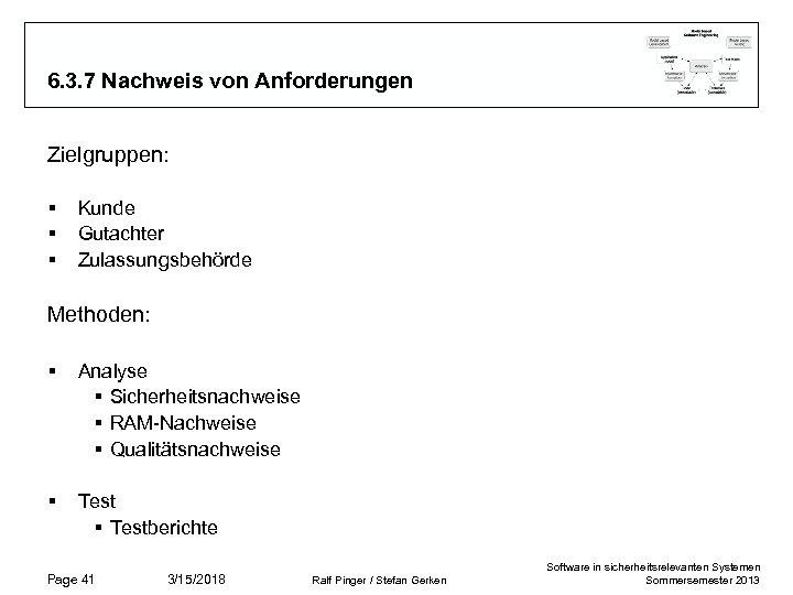 6. 3. 7 Nachweis von Anforderungen Zielgruppen: § § § Kunde Gutachter Zulassungsbehörde Methoden: