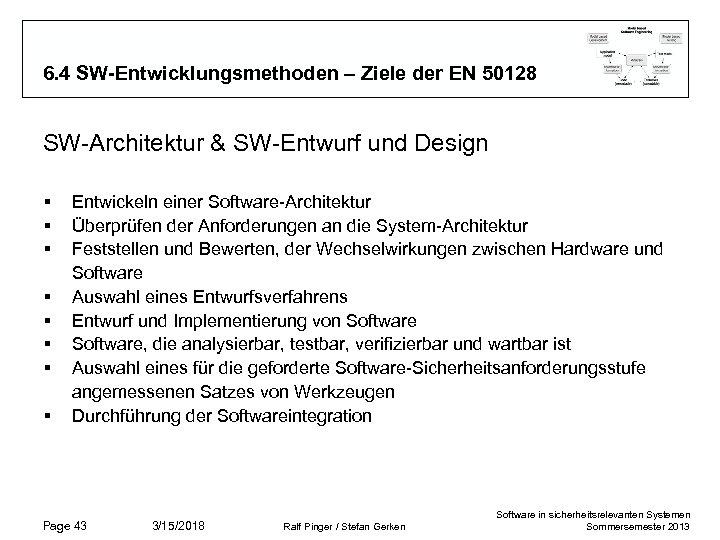 6. 4 SW-Entwicklungsmethoden – Ziele der EN 50128 SW-Architektur & SW-Entwurf und Design §