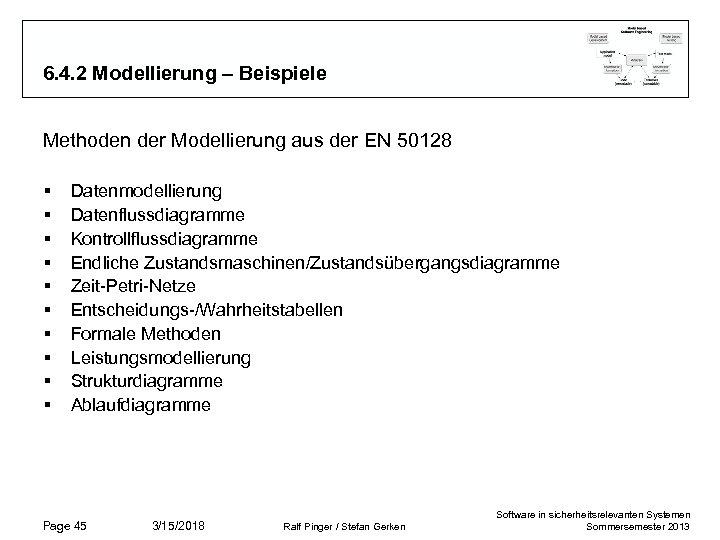 6. 4. 2 Modellierung – Beispiele Methoden der Modellierung aus der EN 50128 §