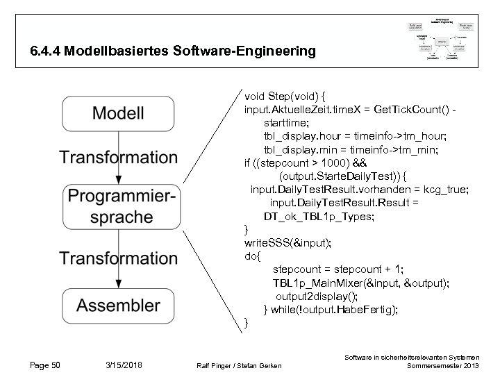 6. 4. 4 Modellbasiertes Software-Engineering void Step(void) { input. Aktuelle. Zeit. time. X =