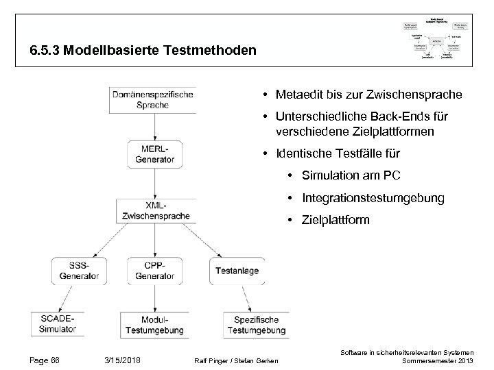 6. 5. 3 Modellbasierte Testmethoden • Metaedit bis zur Zwischensprache • Unterschiedliche Back-Ends für