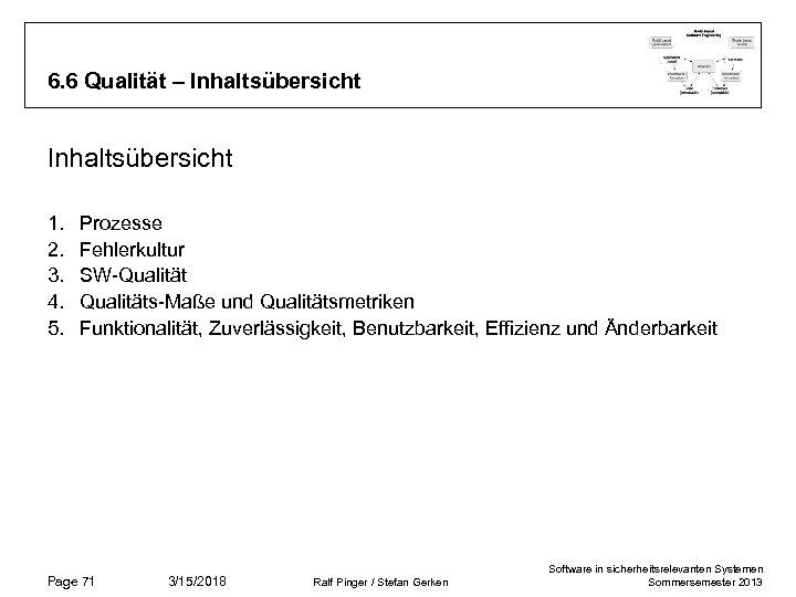 6. 6 Qualität – Inhaltsübersicht 1. 2. 3. 4. 5. Prozesse Fehlerkultur SW-Qualitäts-Maße und