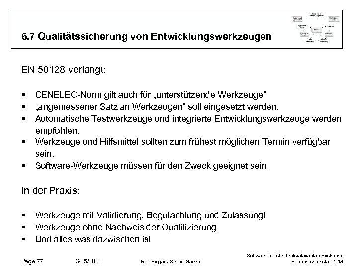 6. 7 Qualitätssicherung von Entwicklungswerkzeugen EN 50128 verlangt: § § § CENELEC-Norm gilt auch