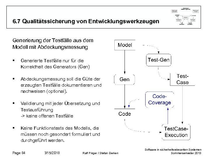 6. 7 Qualitätssicherung von Entwicklungswerkzeugen Generierung der Testfälle aus dem Modell mit Abdeckungsmessung §