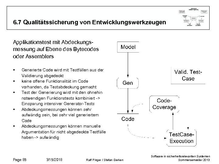 6. 7 Qualitätssicherung von Entwicklungswerkzeugen Applikationstest mit Abdeckungsmessung auf Ebene des Bytecodes oder Assemblers